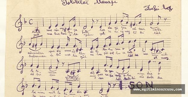 İstiklal Marşı'nın el yazısı bestesi İstanbul Şehir Üniversitesi arşivinde